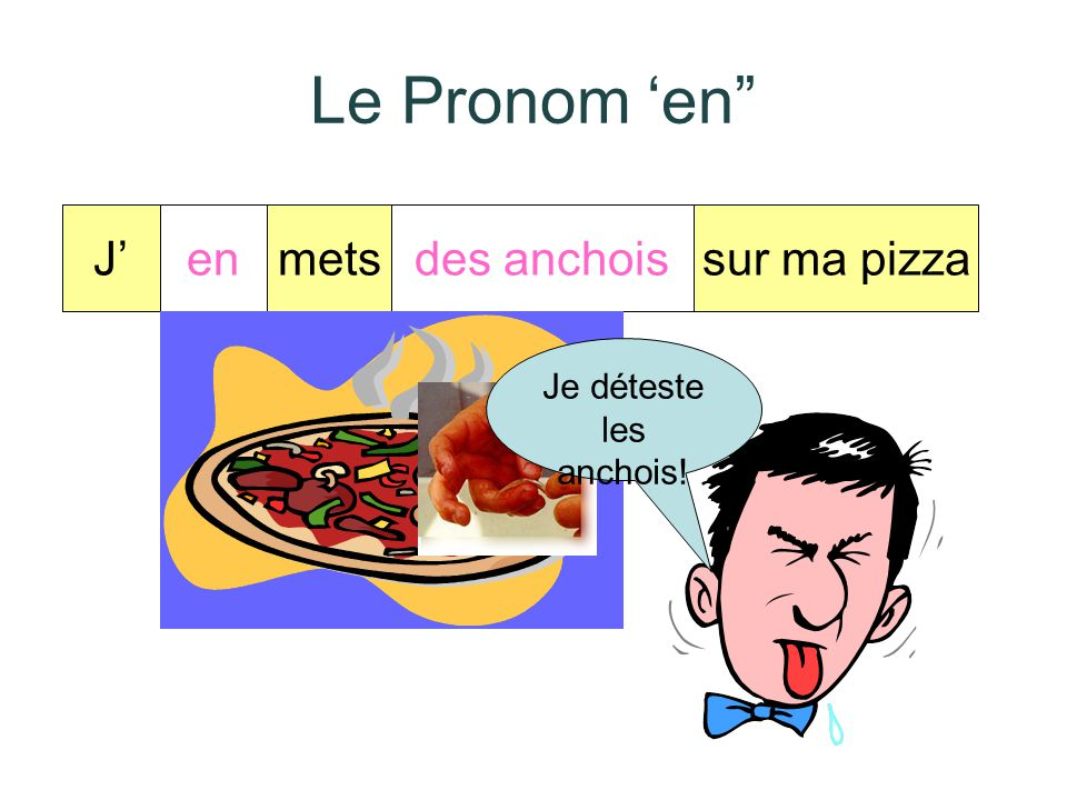 """Le Pronom 'en"""" Le pronom """"en"""" remplace… de du de la des de l' d' + un nom"""