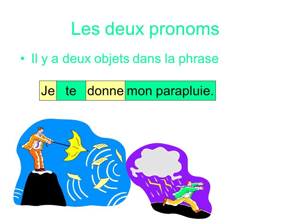 Les deux pronoms Regardez la phrase suivante: Jetedonnemon parapluie.