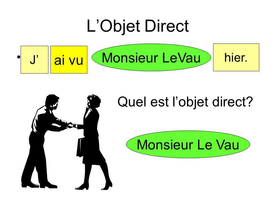 L'Objet Indirect L'objet indirect est: à au à la aux à l' + une personne ou un animal