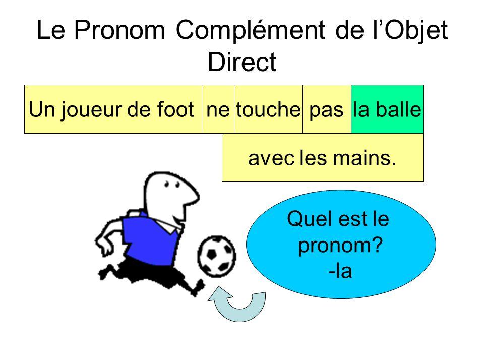 Le Pronom Complément de l'Objet Direct Un joueur de footnetouchepasla balle avec les mains. Quel est l'objet direct? -la balle