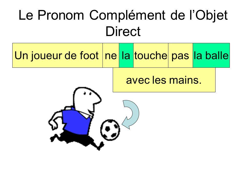 Le Pronom Complément de l'Objet Direct Un joueur de footnetouchepasla balle avec les mains. Quel est le pronom? -la