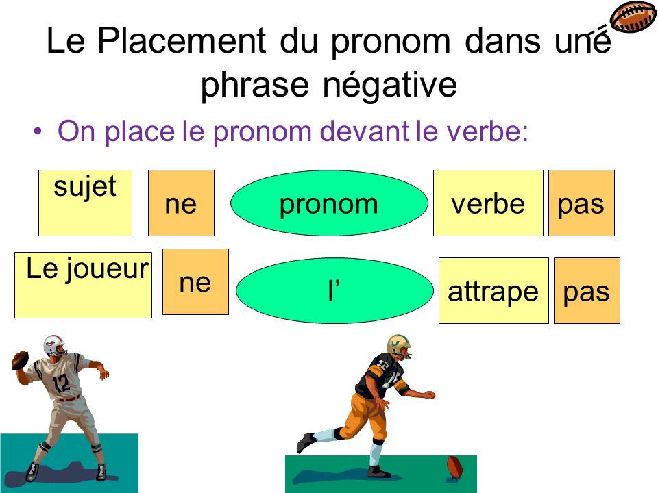 Le Placement du pronom dans une phrase négative On place le pronom devant le verbe: sujet pronomverbenepas Le joueur l'attrape ne pas
