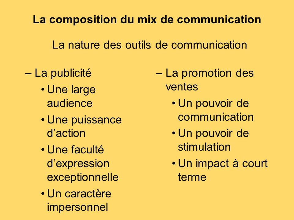 La composition du mix de communication –La publicité Une large audience Une puissance d'action Une faculté d'expression exceptionnelle Un caractère im