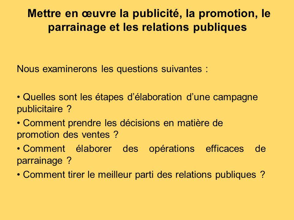 Mettre en œuvre la publicité, la promotion, le parrainage et les relations publiques Nous examinerons les questions suivantes : Quelles sont les étape