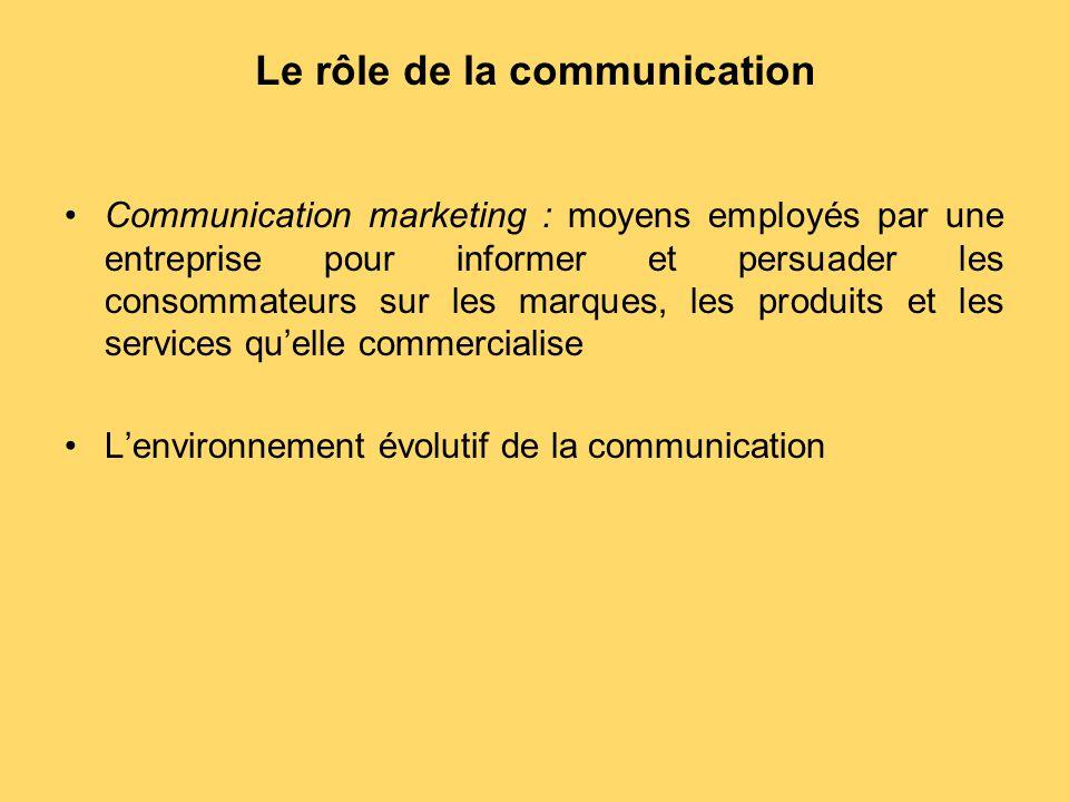 Le rôle de la communication Communication marketing : moyens employés par une entreprise pour informer et persuader les consommateurs sur les marques,