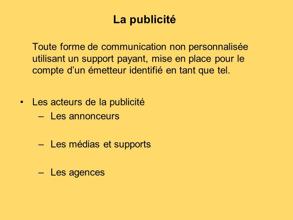La publicité Toute forme de communication non personnalisée utilisant un support payant, mise en place pour le compte d'un émetteur identifié en tant