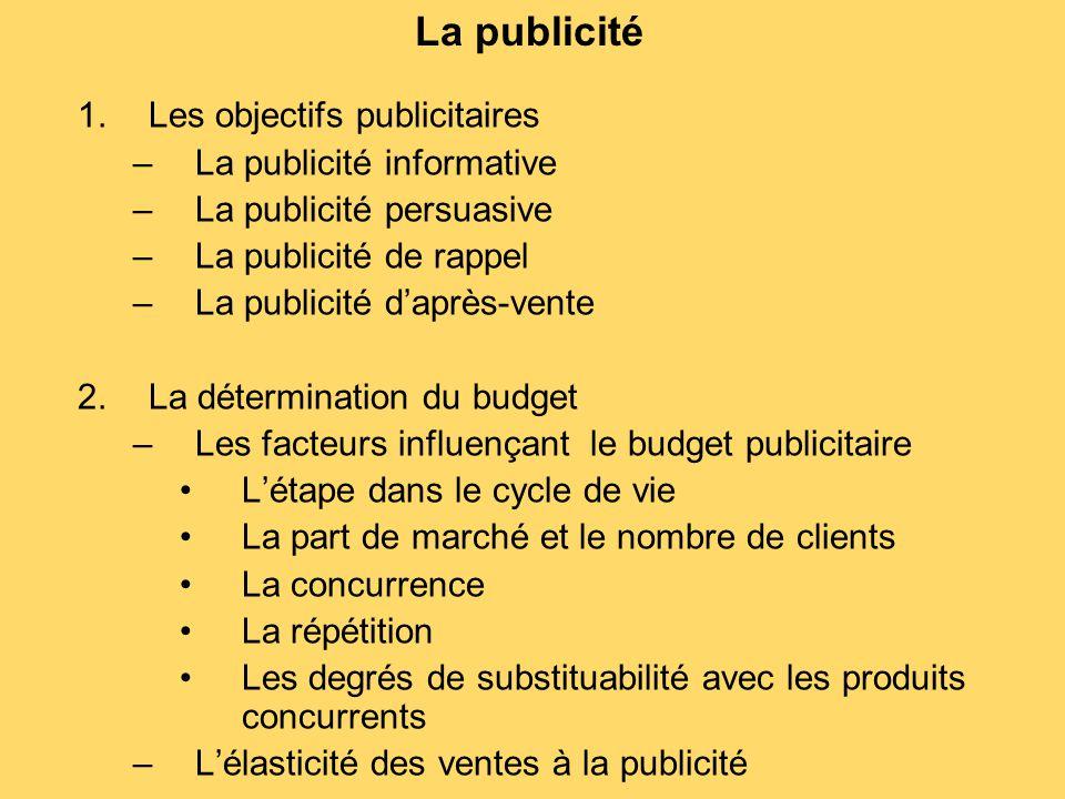 La publicité 1.Les objectifs publicitaires –La publicité informative –La publicité persuasive –La publicité de rappel –La publicité d'après-vente 2.La
