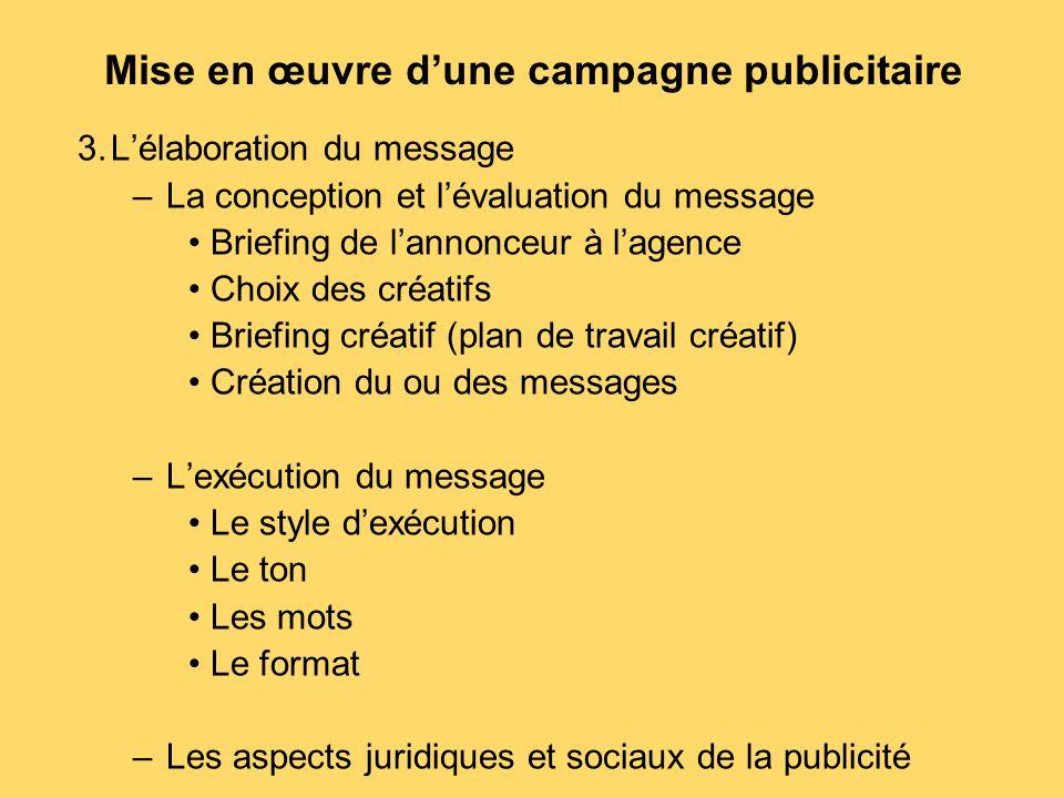 Mise en œuvre d'une campagne publicitaire 3.L'élaboration du message –La conception et l'évaluation du message Briefing de l'annonceur à l'agence Choi