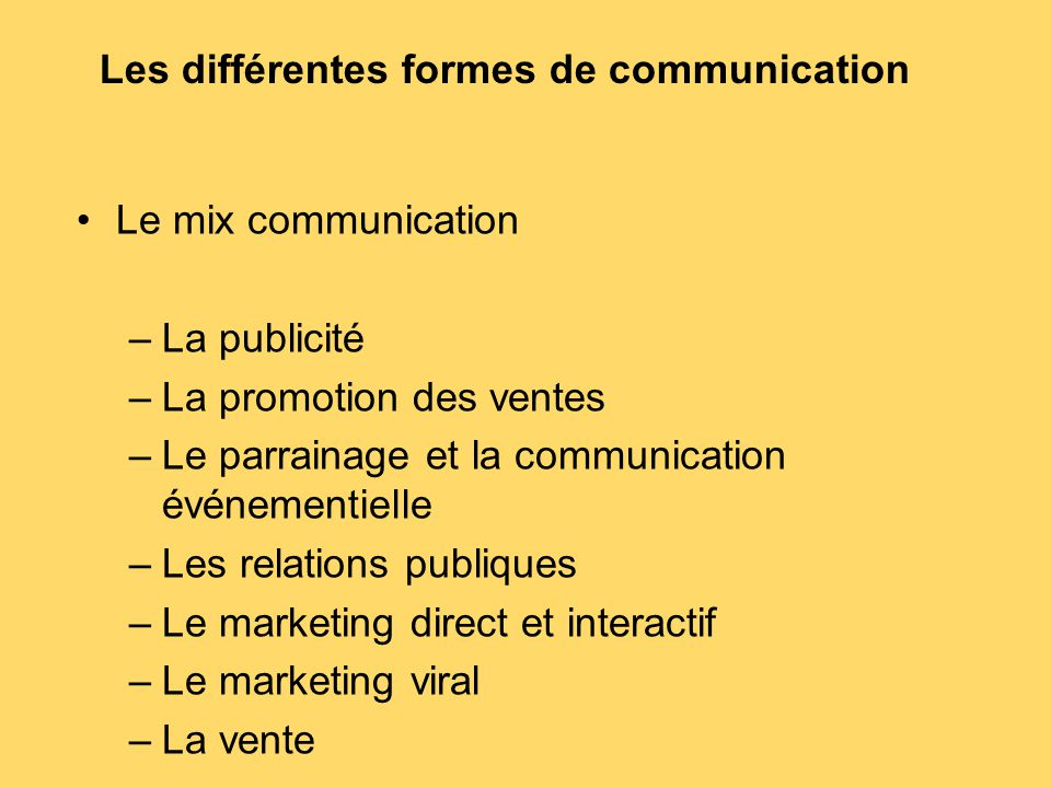 Les différentes formes de communication Le mix communication –La publicité –La promotion des ventes –Le parrainage et la communication événementielle