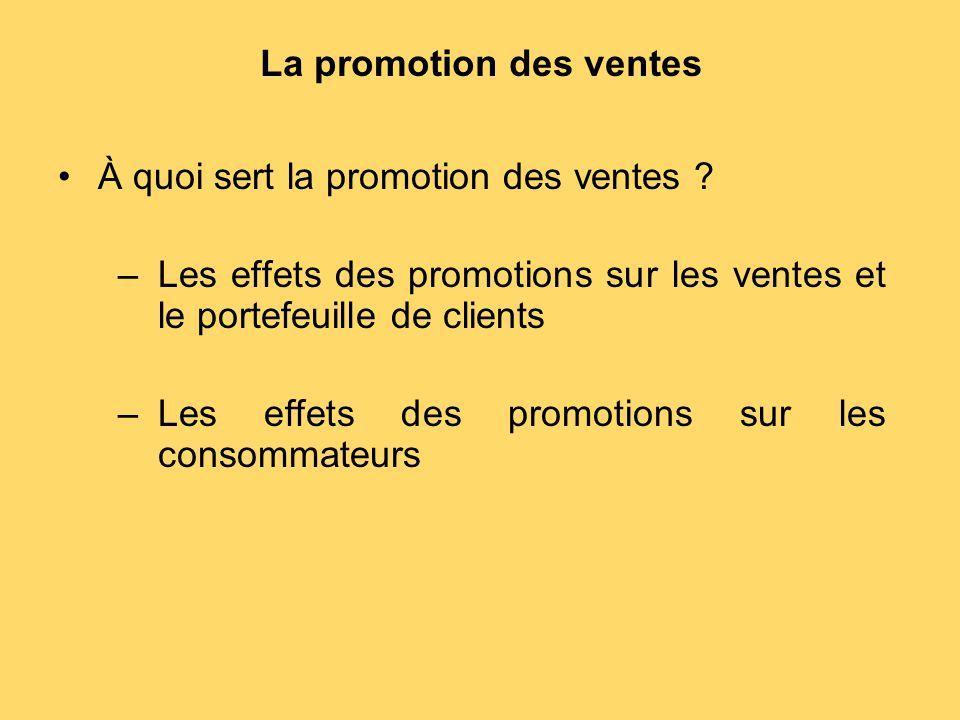 La promotion des ventes À quoi sert la promotion des ventes ? –Les effets des promotions sur les ventes et le portefeuille de clients –Les effets des
