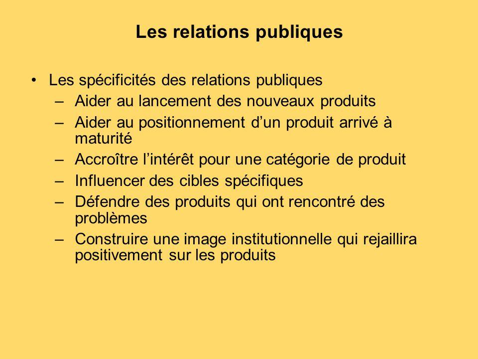 Les relations publiques Les spécificités des relations publiques –Aider au lancement des nouveaux produits –Aider au positionnement d'un produit arriv