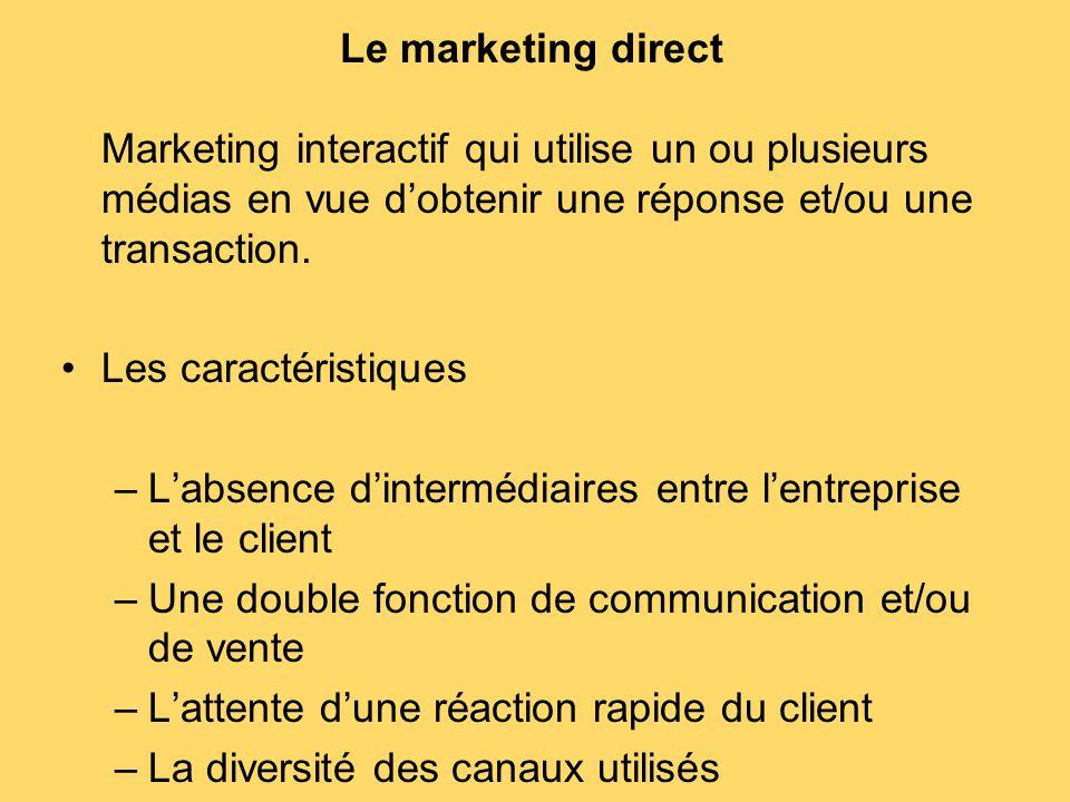 Le marketing direct Marketing interactif qui utilise un ou plusieurs médias en vue d'obtenir une réponse et/ou une transaction. Les caractéristiques –