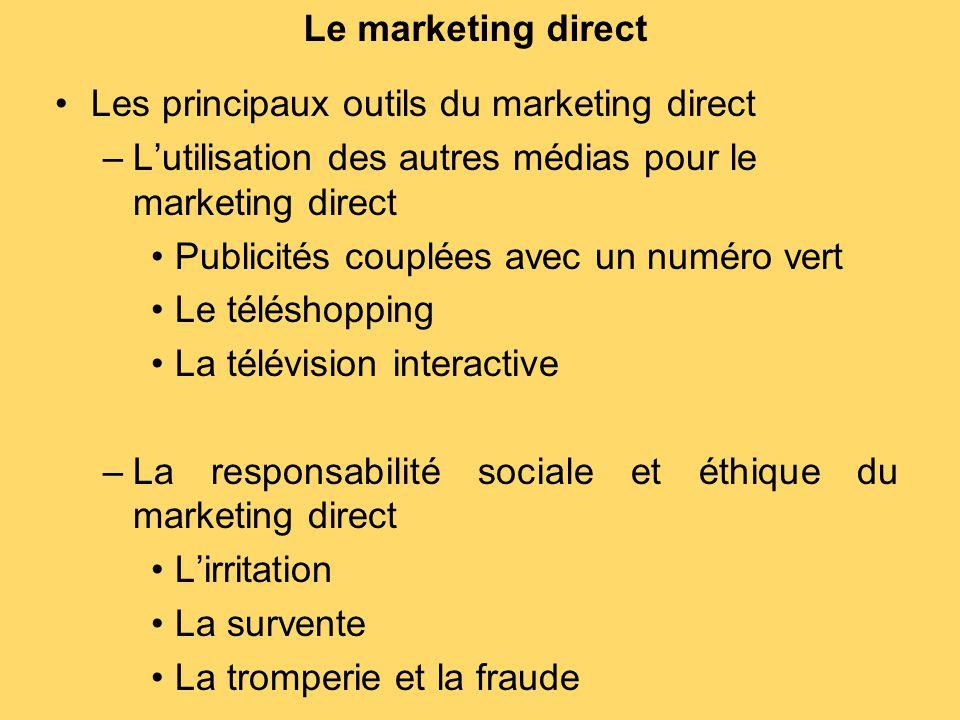 Le marketing direct Les principaux outils du marketing direct –L'utilisation des autres médias pour le marketing direct Publicités couplées avec un nu