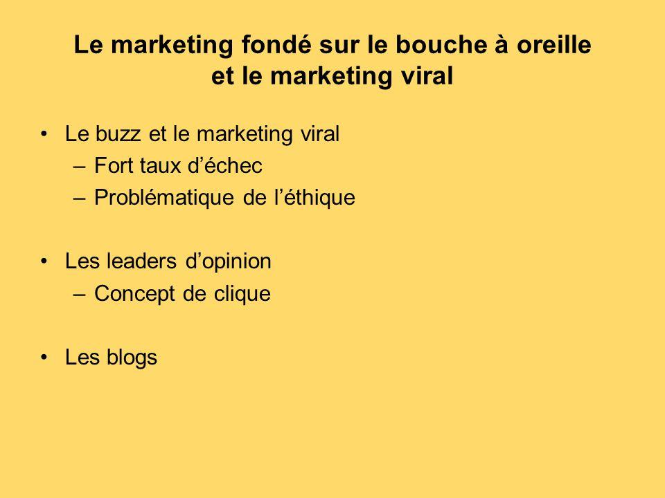 Le marketing fondé sur le bouche à oreille et le marketing viral Le buzz et le marketing viral –Fort taux d'échec –Problématique de l'éthique Les lead