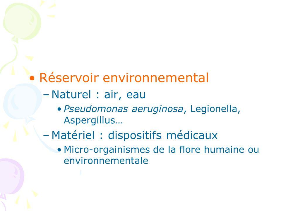 Réservoir environnemental –Naturel : air, eau Pseudomonas aeruginosa, Legionella, Aspergillus… –Matériel : dispositifs médicaux Micro-orgainismes de la flore humaine ou environnementale