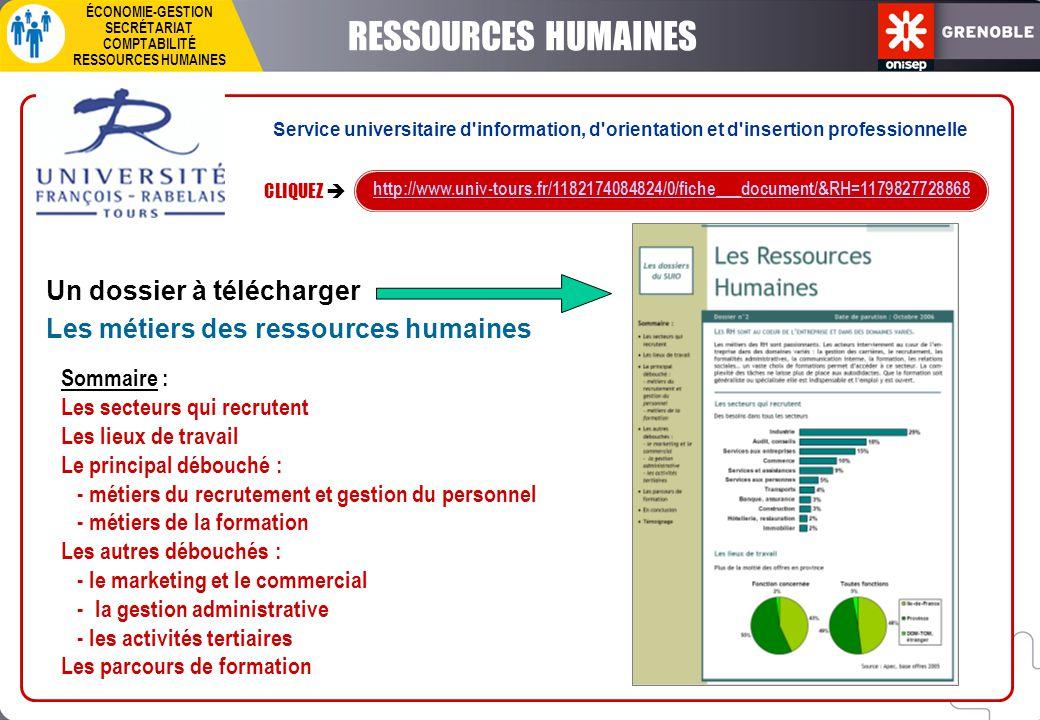 CLIQUEZ  http://www.univ-tours.fr/1182174084824/0/fiche___document/&RH=1179827728868 Un dossier à télécharger Les métiers des ressources humaines Som