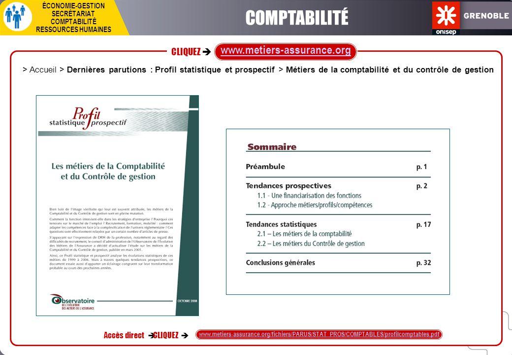 CLIQUEZ  ÉCONOMIE-GESTION SECRÉTARIAT COMPTABILITÉ RESSOURCES HUMAINES Accès direct  CLIQUEZ  www.metiers-assurance.org/fichiers/PARUS/STAT_PROS/CO