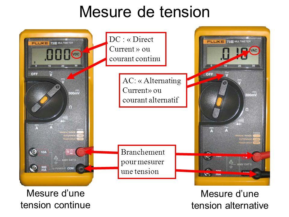 Mesure d'une tension alternative Mesure d'une tension continue DC : « Direct Current » ou courant continu AC: « Alternating Current» ou courant altern