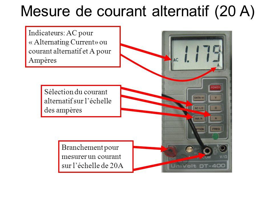 Sélection du courant alternatif sur l'échelle des ampères Indicateurs: AC pour « Alternating Current» ou courant alternatif et A pour Ampères Branchem