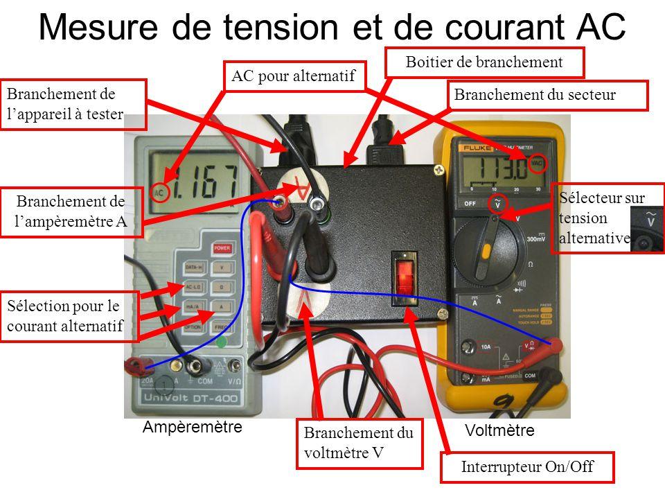 Mesure de tension et de courant AC Boitier de branchement AC pour alternatif Branchement du voltmètre V Sélection pour le courant alternatif Brancheme