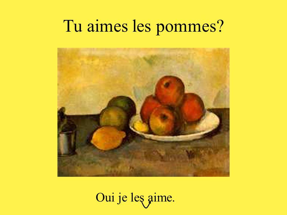 Tu aimes les pommes? Oui je les aime.