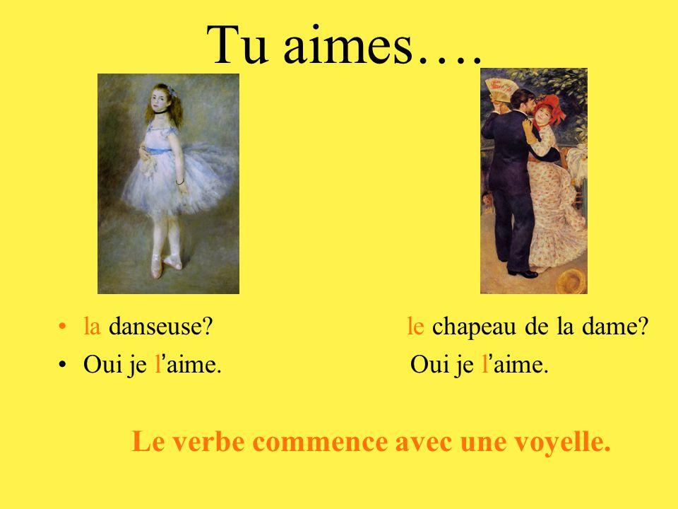 Tu aimes…. la danseuse? le chapeau de la dame? Oui je l ' aime. Le verbe commence avec une voyelle.