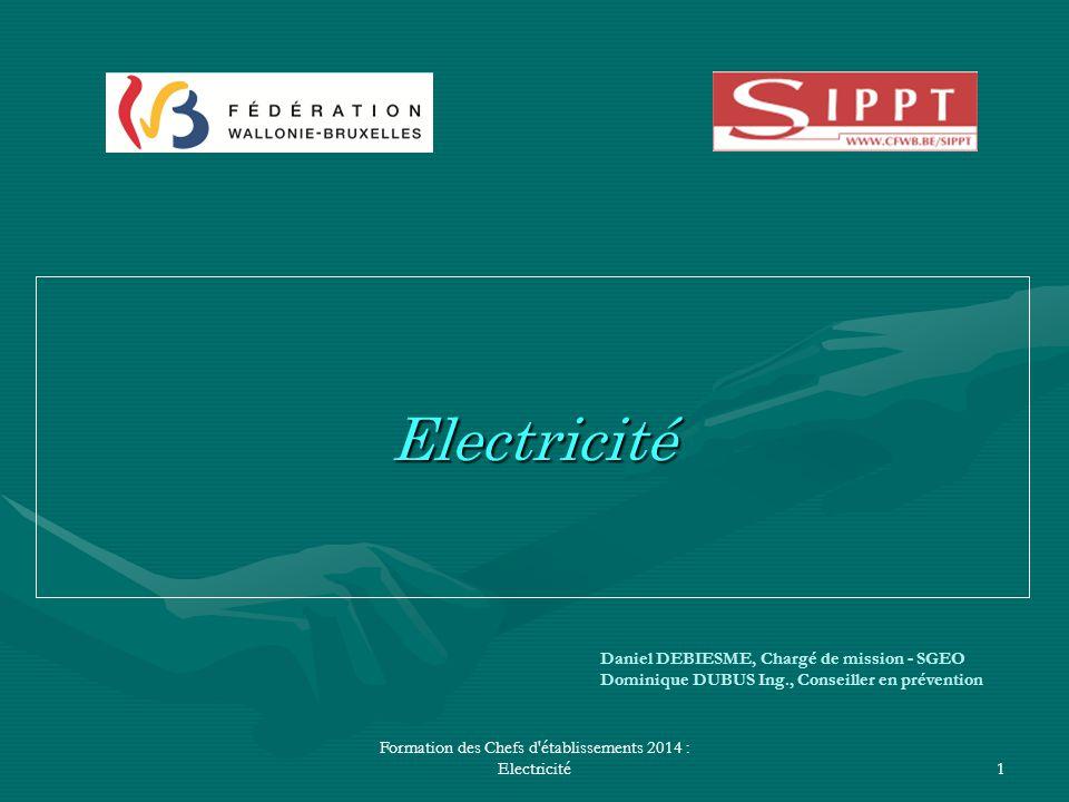 Formation des Chefs d'établissements 2014 : Electricité1 Daniel DEBIESME, Chargé de mission - SGEO Dominique DUBUS Ing., Conseiller en prévention Elec