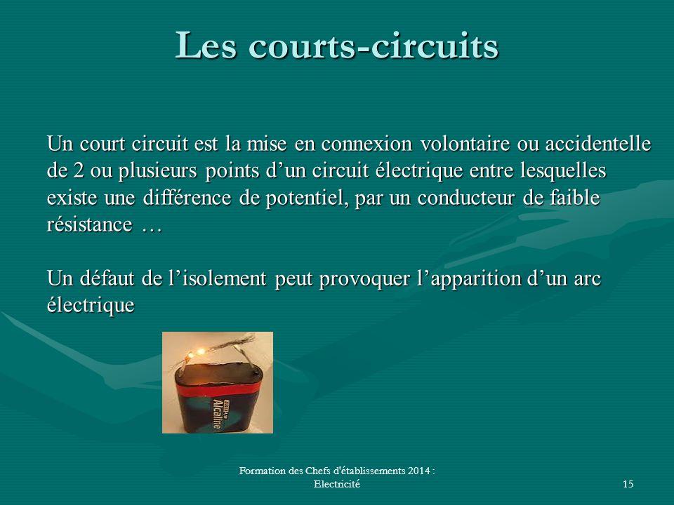 Formation des Chefs d'établissements 2014 : Electricité15 Les courts-circuits Un court circuit est la mise en connexion volontaire ou accidentelle de
