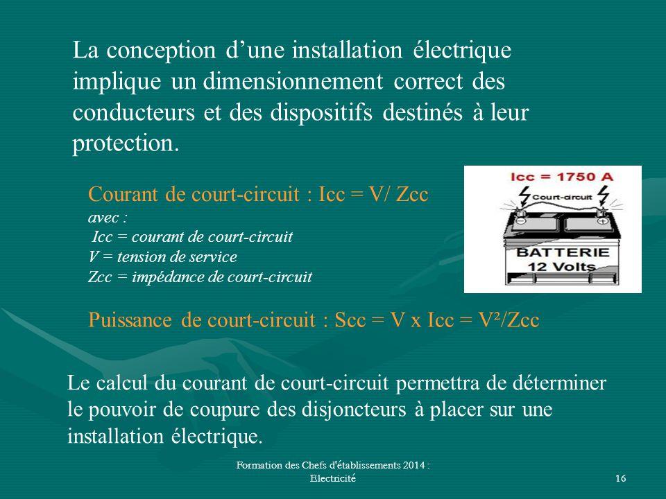 Formation des Chefs d'établissements 2014 : Electricité16 La conception d'une installation électrique implique un dimensionnement correct des conducte