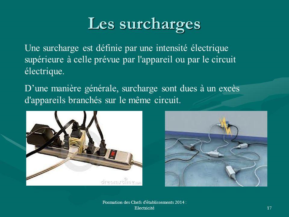 Formation des Chefs d'établissements 2014 : Electricité17 Les surcharges Une surcharge est définie par une intensité électrique supérieure à celle pré