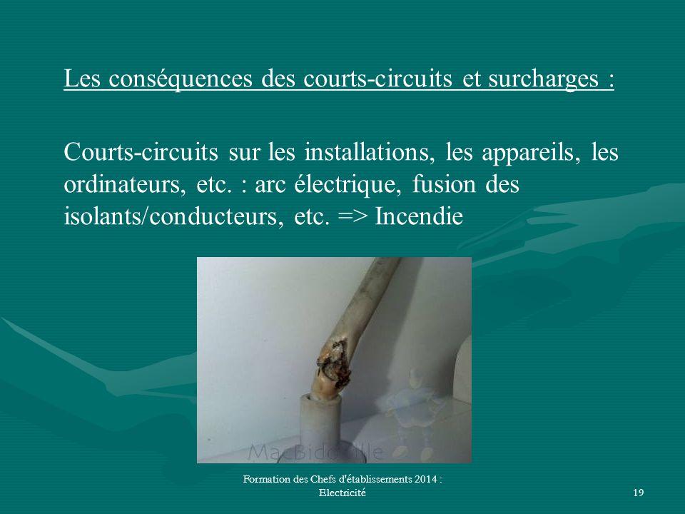 Formation des Chefs d'établissements 2014 : Electricité19 Les conséquences des courts-circuits et surcharges : Courts-circuits sur les installations,