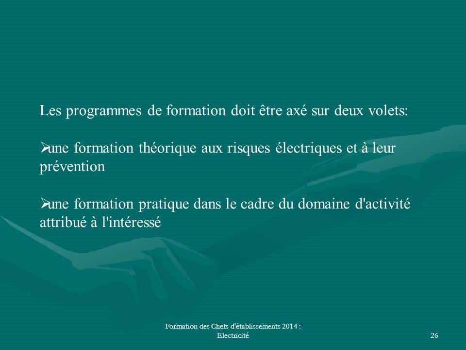 Formation des Chefs d'établissements 2014 : Electricité26 Les programmes de formation doit être axé sur deux volets:  une formation théorique aux ris