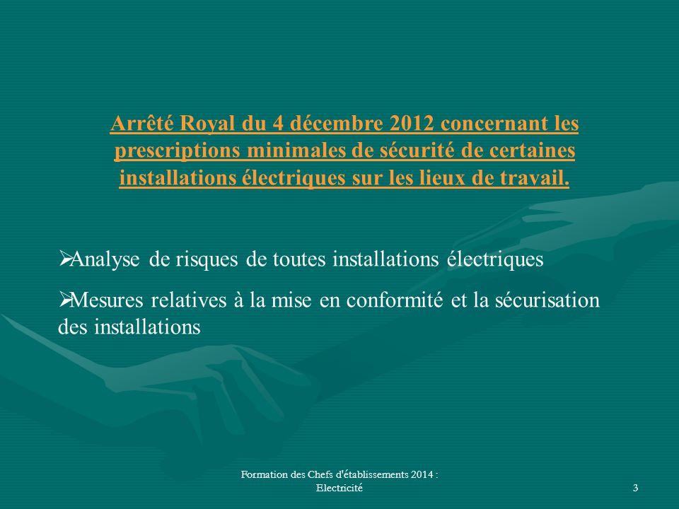 Formation des Chefs d'établissements 2014 : Electricité3 Arrêté Royal du 4 décembre 2012 concernant les prescriptions minimales de sécurité de certain