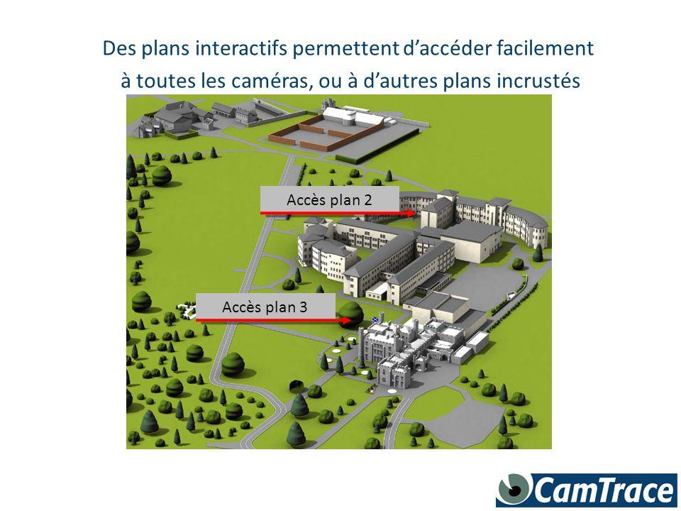 Des plans interactifs permettent d'accéder facilement à toutes les caméras, ou à d'autres plans incrustés Accès plan 3 Accès plan 2