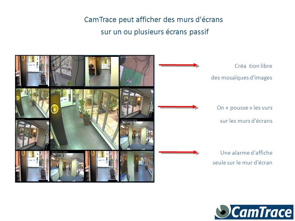 CamTrace peut afficher des murs d'écrans sur un ou plusieurs écrans passif Création libre des mosaïques d'images On « pousse » les vurs sur les murs d