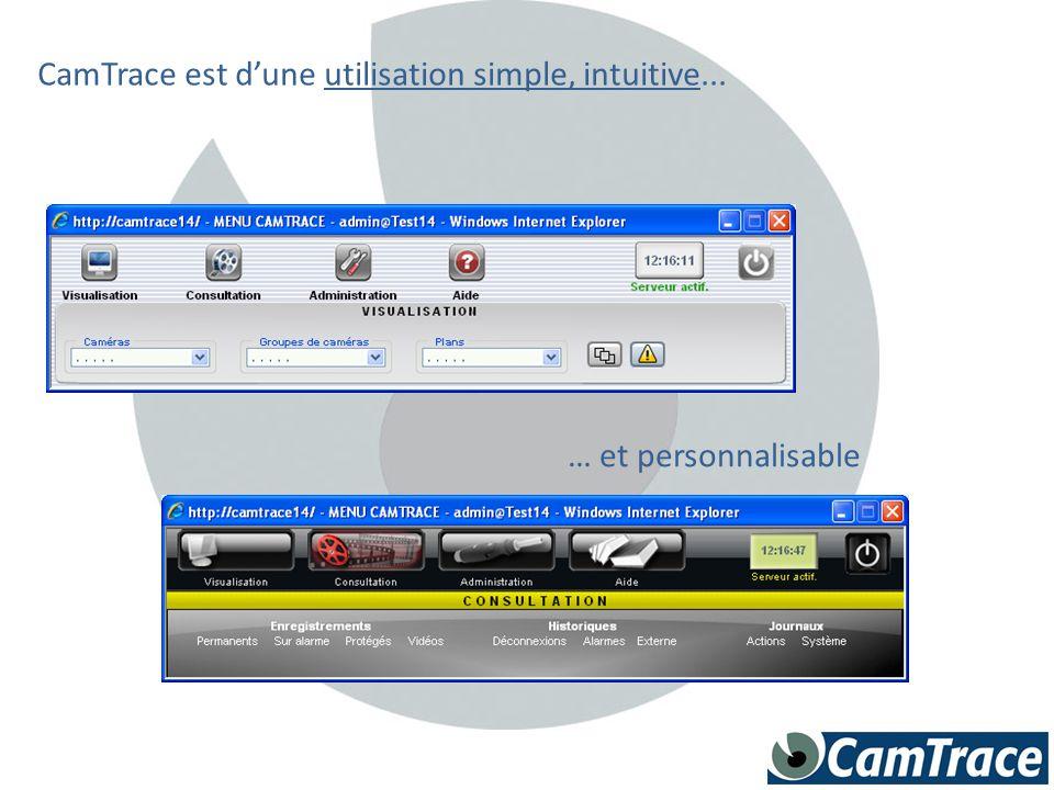 CamTrace est d'une utilisation simple, intuitive... … et personnalisable