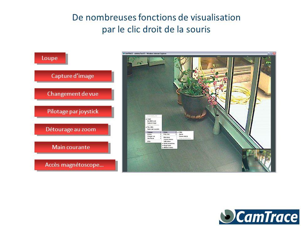 CamTrace peut afficher des murs d écrans sur un ou plusieurs écrans passif Création libre des mosaïques d images On « pousse » les vurs sur les murs d écrans Une alarme d affiche seule sur le mur d écran
