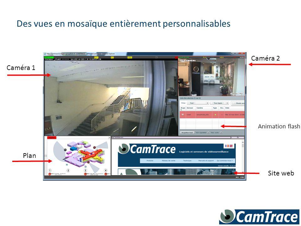 Des plans interactifs permettent d'accéder facilement à toutes les caméras, ou à d'autres plans incrustés Plan 2