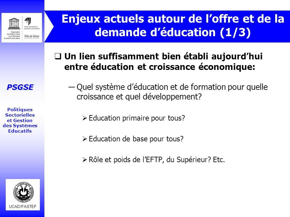 UCAD/FASTEF PSGSE Politiques Sectorielles et Gestion des Systèmes Educatifs Enjeux actuels autour de l'offre et de la demande d'éducation (1/3)  Un l