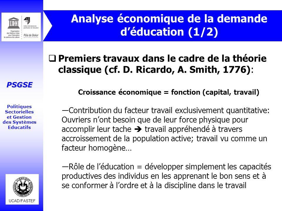 UCAD/FASTEF PSGSE Politiques Sectorielles et Gestion des Systèmes Educatifs Analyse économique de la demande d'éducation (1/2)  Premiers travaux dans