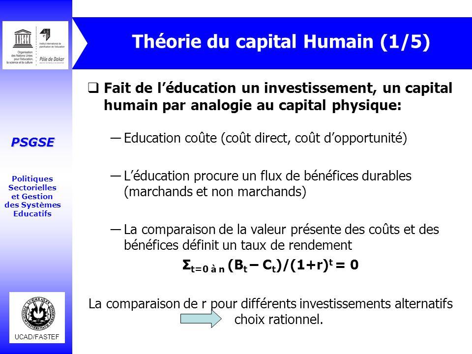 UCAD/FASTEF PSGSE Politiques Sectorielles et Gestion des Systèmes Educatifs Théorie du capital Humain (2/5)  Exemple: profils « âge-gains » pour 2 diplômés