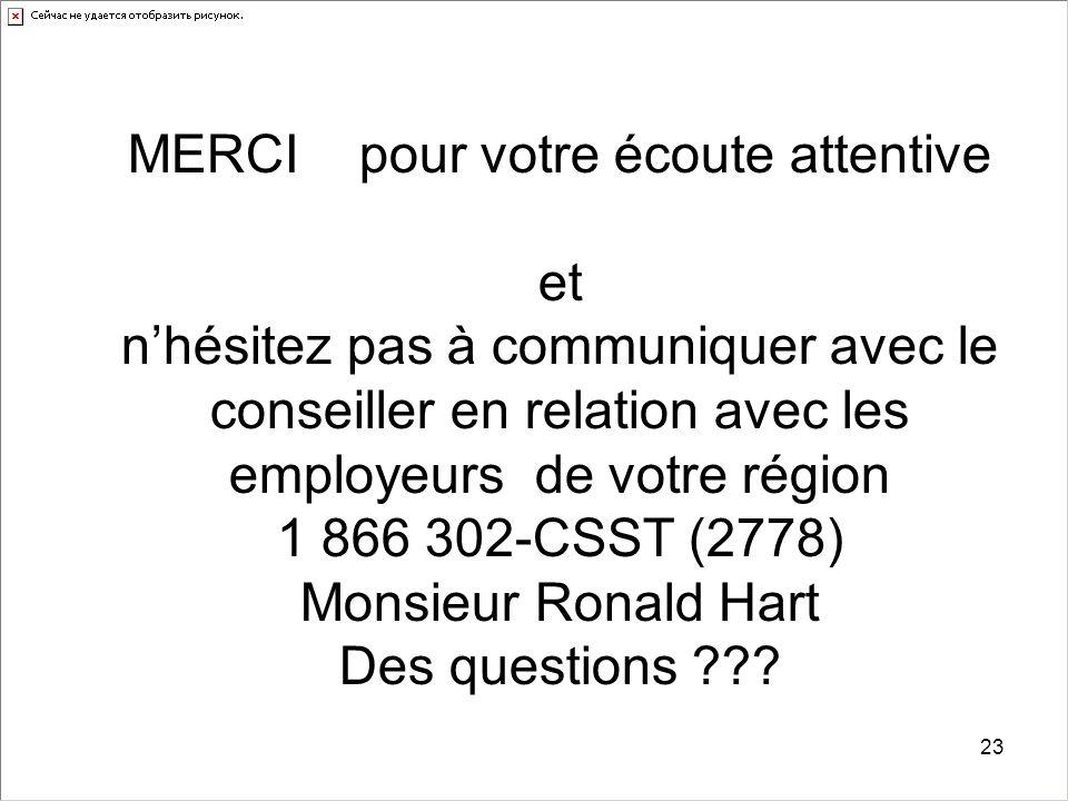 23 MERCI pour votre écoute attentive et n'hésitez pas à communiquer avec le conseiller en relation avec les employeurs de votre région 1 866 302-CSST (2778) Monsieur Ronald Hart Des questions