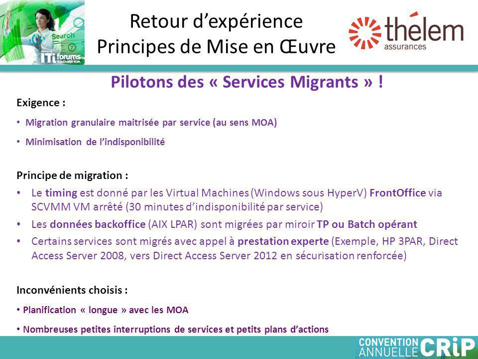 Retour d'expérience Principes de Mise en Œuvre Pilotons des « Services Migrants » .