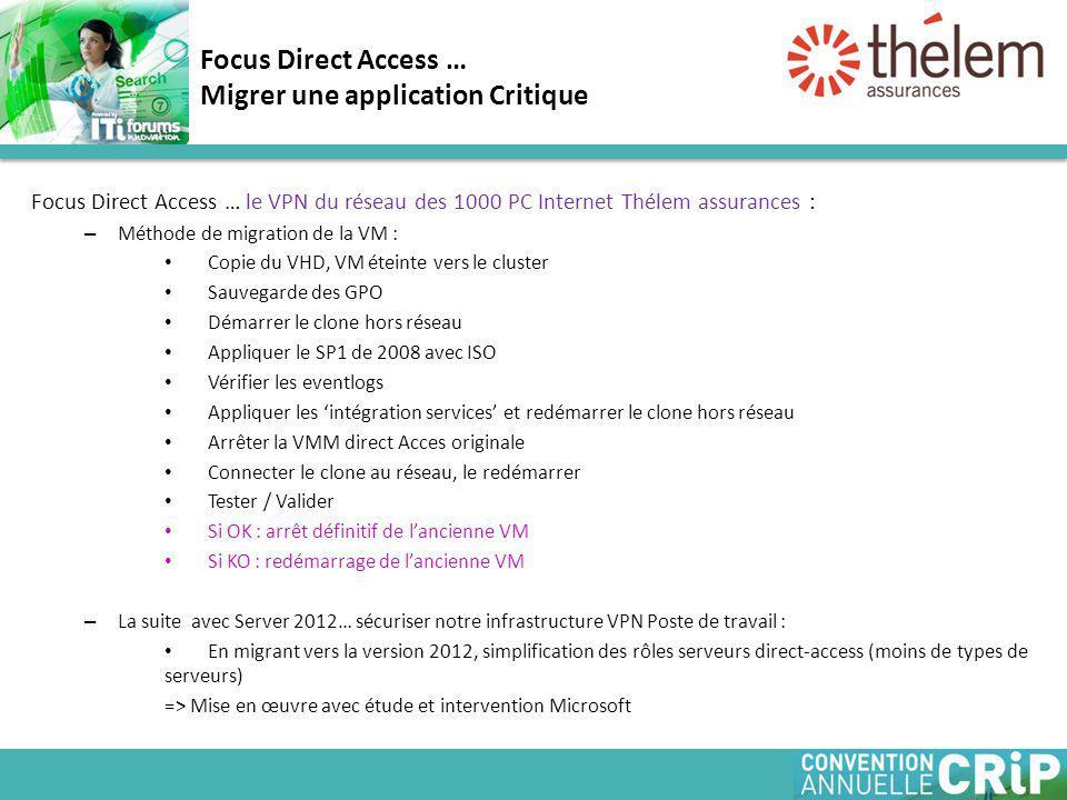 Focus Direct Access … le VPN du réseau des 1000 PC Internet Thélem assurances : – Méthode de migration de la VM : Copie du VHD, VM éteinte vers le cluster Sauvegarde des GPO Démarrer le clone hors réseau Appliquer le SP1 de 2008 avec ISO Vérifier les eventlogs Appliquer les 'intégration services' et redémarrer le clone hors réseau Arrêter la VMM direct Acces originale Connecter le clone au réseau, le redémarrer Tester / Valider Si OK : arrêt définitif de l'ancienne VM Si KO : redémarrage de l'ancienne VM – La suite avec Server 2012… sécuriser notre infrastructure VPN Poste de travail : En migrant vers la version 2012, simplification des rôles serveurs direct-access (moins de types de serveurs) => Mise en œuvre avec étude et intervention Microsoft Focus Direct Access … Migrer une application Critique