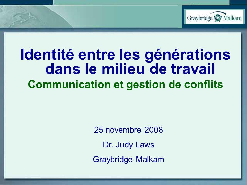 Identité entre les générations dans le milieu de travail Communication et gestion de conflits 25 novembre 2008 Dr. Judy Laws Graybridge Malkam
