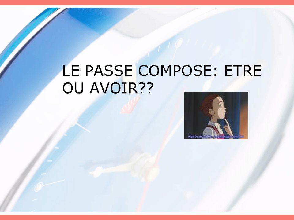 LE PASSE COMPOSE: ETRE OU AVOIR??