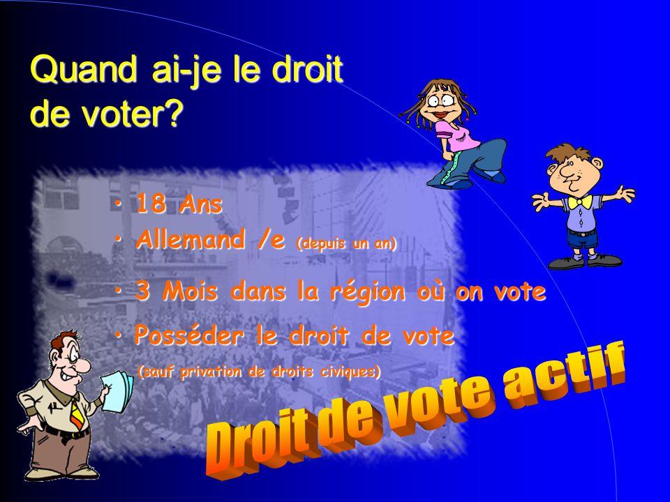 Quand ai-je le droit de voter? Posséder le droit de vote Posséder le droit de vote (sauf privation de droits civiques)  (sauf privation de droits civ