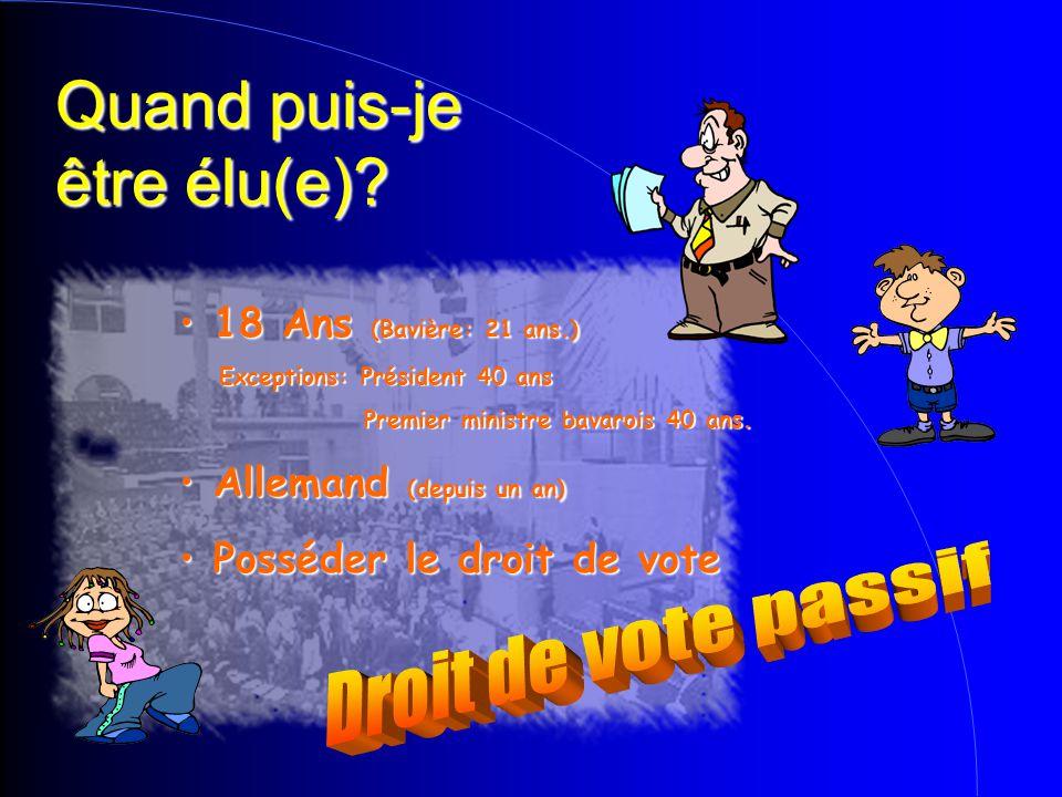 Quand puis-je être élu(e)? Posséder le droit de vote Posséder le droit de vote Allemand (depuis un an)  Allemand (depuis un an)  18 Ans (Bavière: 21