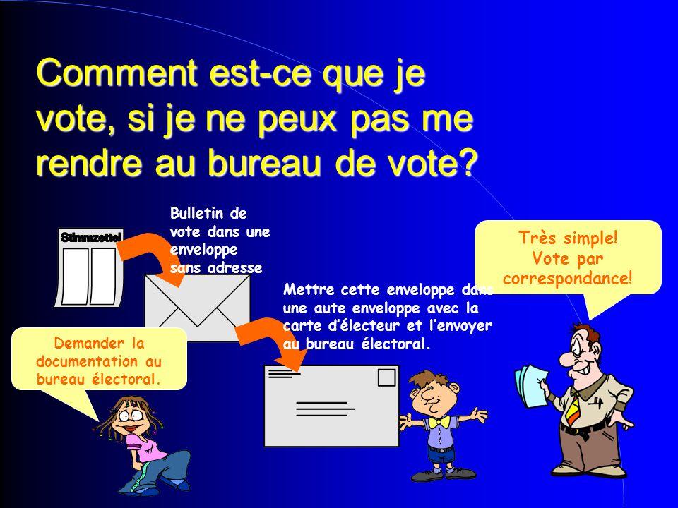 Comment est-ce que je vote, si je ne peux pas me rendre au bureau de vote? Très simple! Vote par correspondance! Demander la documentation au bureau é