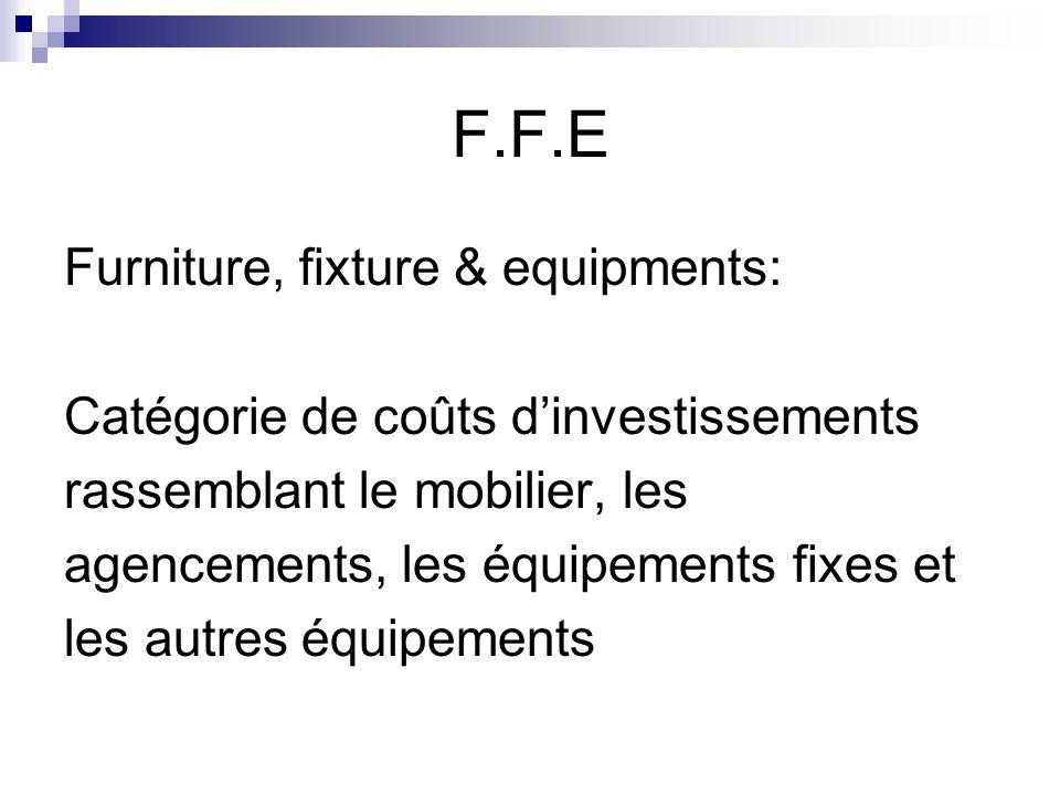 F.F.E Furniture, fixture & equipments: Catégorie de coûts d'investissements rassemblant le mobilier, les agencements, les équipements fixes et les aut
